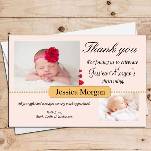 10 Personalised Girls Boys Hearts Christening Baptism Thank you PHOTO Cards N32